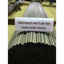 18x12x0,8 mm firkantrør m/runde kanter á 6m